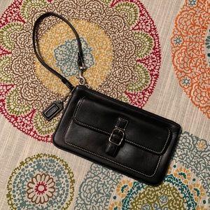 GREAT Coach black leather wristlet